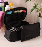 Black Fabric 10.3 x 6.5 x 0.7 Inch Travel Innerwear Organizer