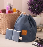 Nylon Blue Barrel Shaped Cushioned Makeup Storage Bag
