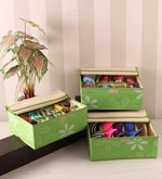 Fabric Green Innerwear Organiser - Set of 3