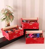 PackNBUY Red Fabric 23 x 1.6 x 6.5 Inch Innerwear Organizer