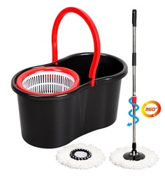 Paffy 360 Degree Magic Red & Black Spin Mop Set