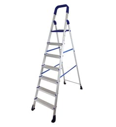 Paffy Home Pro PPCP & Aluminium 7 Steps 5.3 FT Folding Ladder