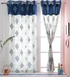 Paisley Design Blue Color Premium Cotton Eyelet Curtain Window