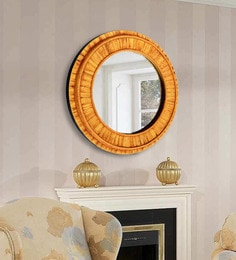 Panash Art Brown Wood And Glass Sand Art Decorative Mirror