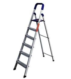 Parasnath Home Pro 6 Step 6.1 Ft Light Weight Aluminium Heavy Duty Folding Ladder