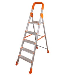 Parasnath Titanium Orange 5 Step 5.1 Ft Light Weight Full Aluminium Heavy Duty Folding Ladder