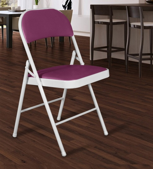 Fantastic Padded Metal Caf Folding Chair In White And Purple Colour By Story Home Download Free Architecture Designs Itiscsunscenecom
