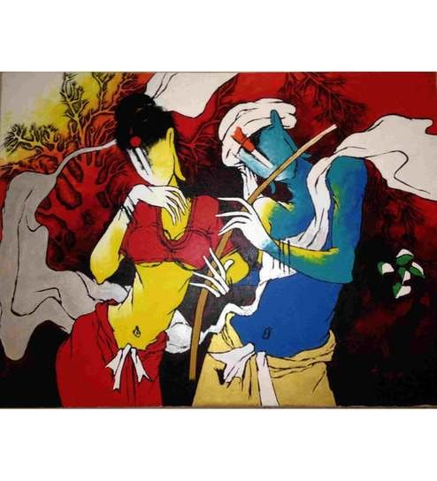 Buy Painting Without Frame Canvas Art Krishna Radha Abstract