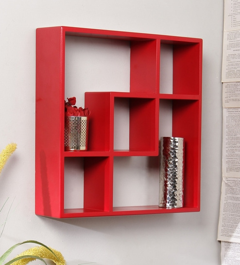 Red Engineered Wood Square Shelf By Home Sparkle