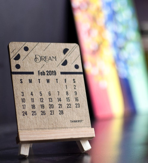 Paper & Wood 2019 Eco-friendly Easel Calendar by Thinkpot