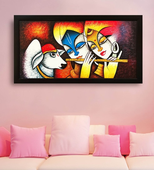Canvas 40 X 0 5 X 28 Inch Radha Krishna Hand Framed Paintings By Gallery99