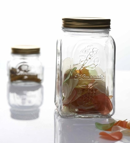 Pasabahce Home made Jar With Metal Cover 1000 Ml-Set of 2