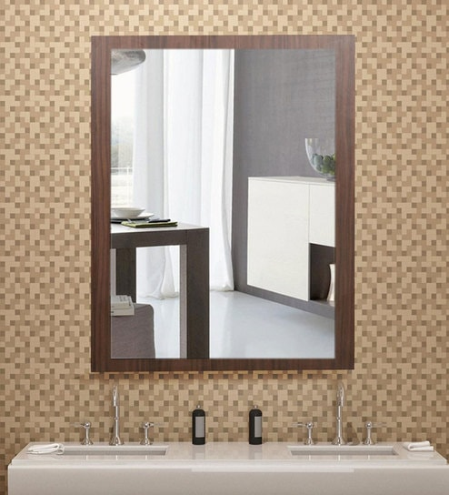 Buy Solid Wood Rectangle Wall Mirror In Brown Colour By Arancia Mobel Online Rectangle Mirrors Wall Accents Home Decor Pepperfry Product