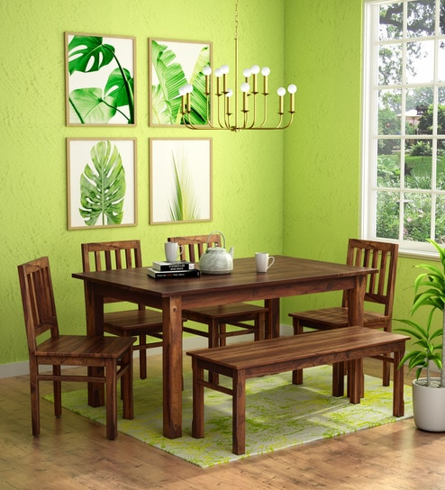 Stupendous Patron Solid Wood 6 Seater Dining Set 4 Chairs 1 Bench In Provincial Teak Finish By Woodsworth Lamtechconsult Wood Chair Design Ideas Lamtechconsultcom