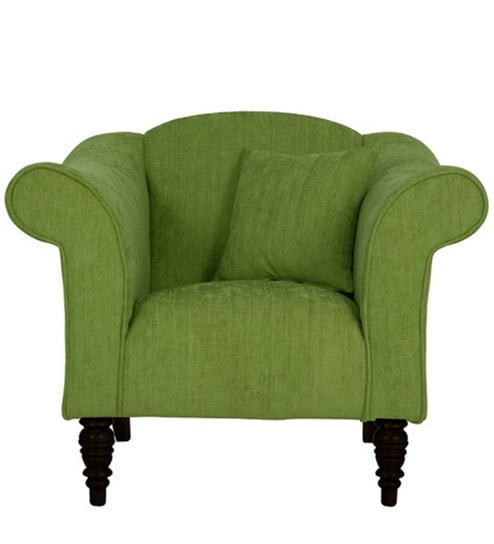 Paulina One Seater Sofa In Fern Green Colour By CasaCraft