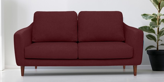 Buy Panache Three Seater Sofa With Cushions In Wine Colour By