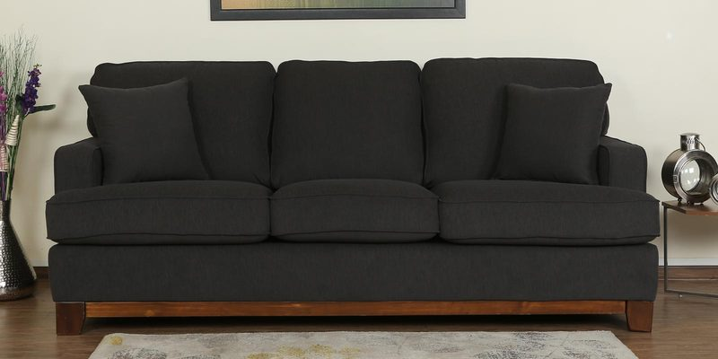 Parana Three Seater Sofa in Charcoal Grey Color by CasaCraft