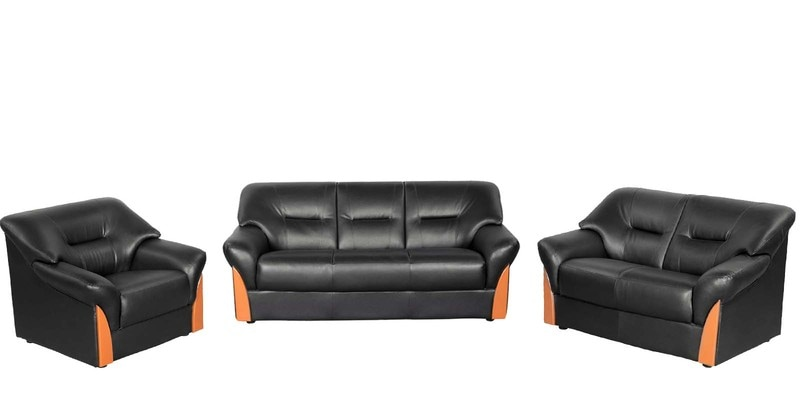 Buy Parto Sofa Set 3 2 1 Seater In Black Colour By