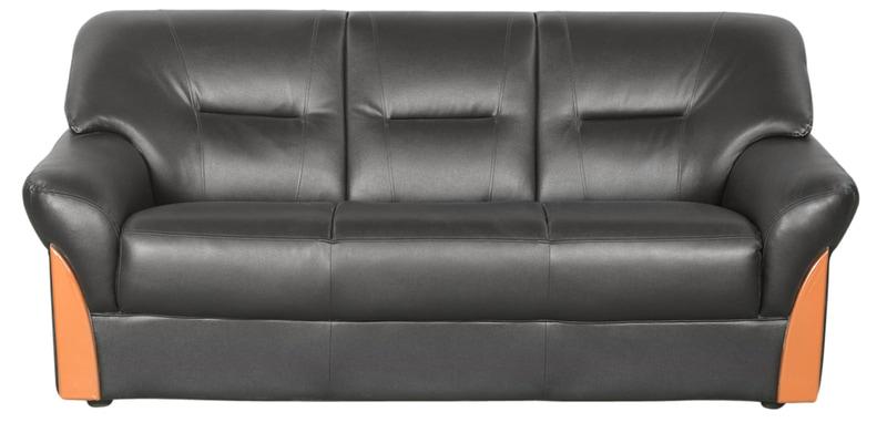Buy Parto Three Seater Sofa In Black Colour By Godrej
