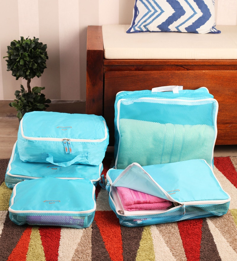 Packnbuy Nylon Blue 5 in 1 Travelling Bag Set
