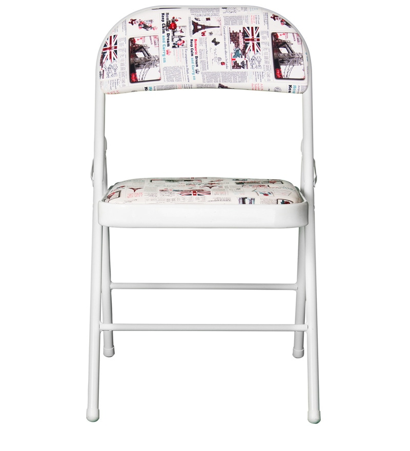Padded Metal Caf Folding Chair in White and Red Colour by Story@home