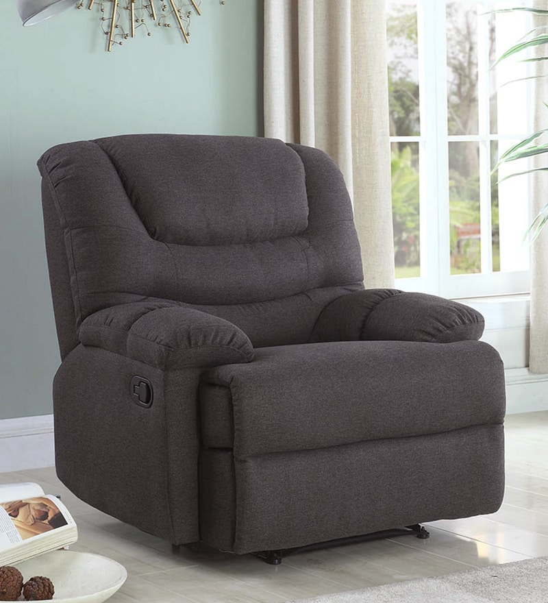 Palmarez One Seater Manual Recliner in Dark Brown Colour by CasaCraft