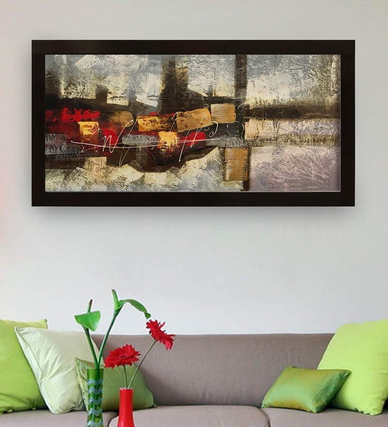 Buy Canvas 40 x 0.5 x 28 Inch Abstract Art Hand Framed Oil ...