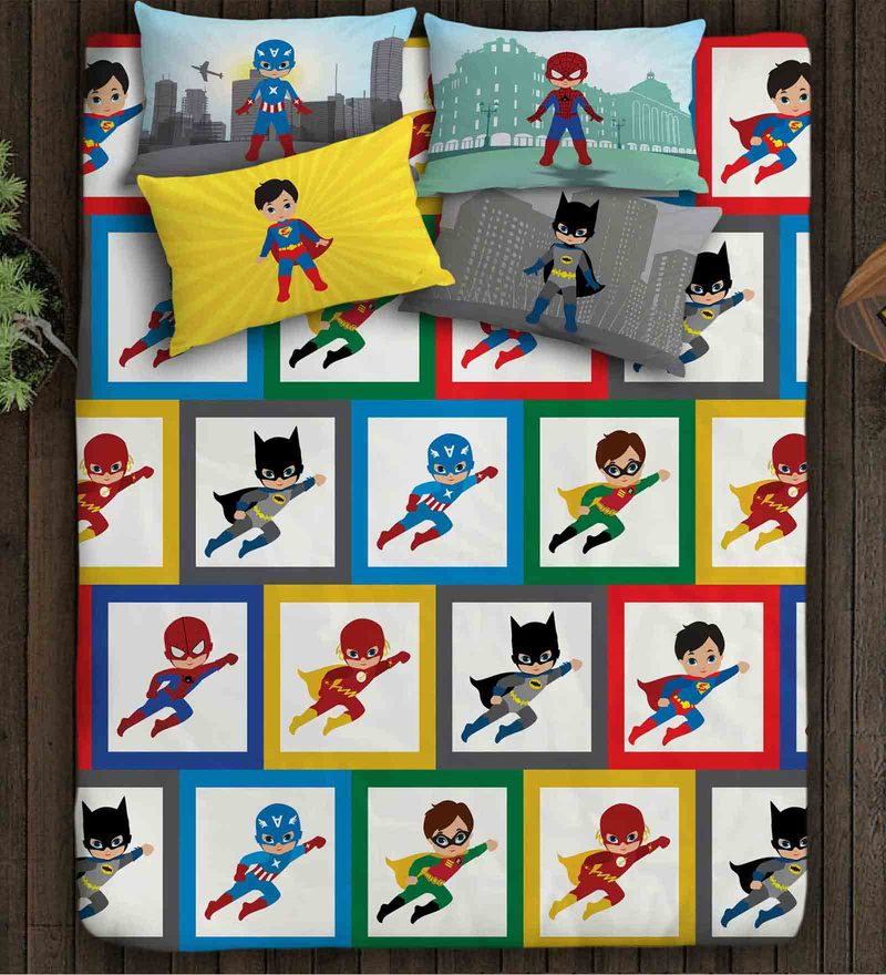 Superheroes Multicolour Cotton Double Bedsheet for Boys by Paper Rockets