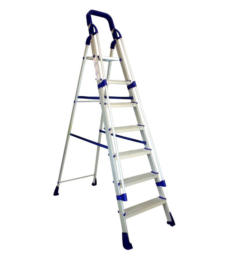 Parasnath Railing Home Pro 7 Step 7.1 Ft Light Weight Full Aluminium Heavy Duty Folding Ladder