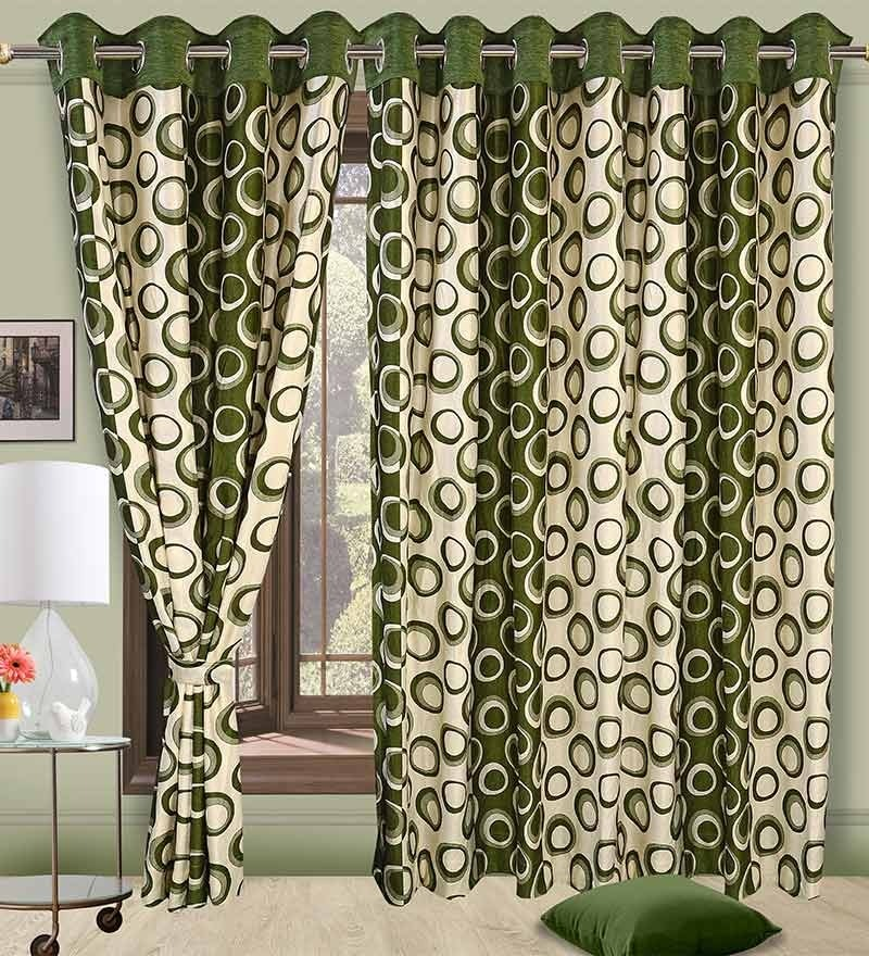 Precious Green Polyester Eyelet Window Curtain- Set of 2 by Cortina