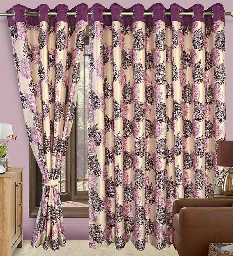 Precious Multicolour Polyester Eyelet Window Curtain- Set of 2 by Cortina