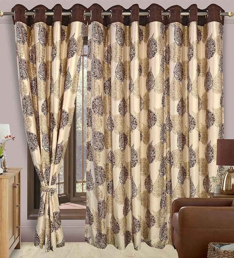 Precious Beige & Brown Polyester Eyelet Window Curtain- Set of 2 by Cortina