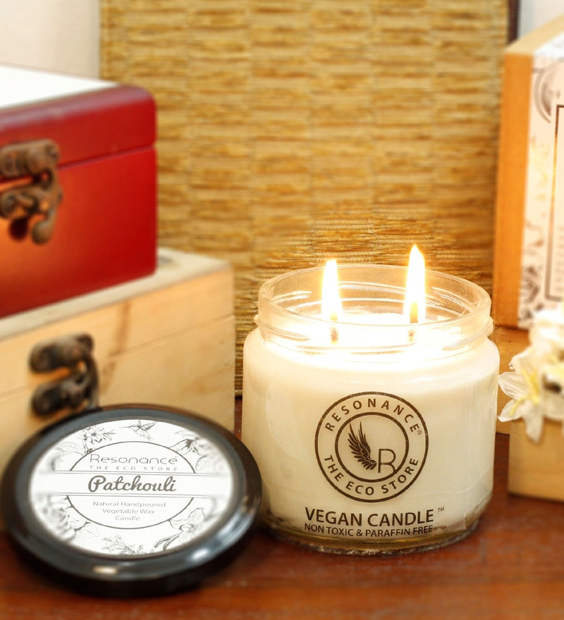 Patchouli Fragrance Natural Wax with Double Wicks Scented Candle by Resonance