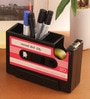 Packnbuy Plastic Red Retro Style Rewind Desk Pen Stand with Tape Dispenser