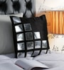 Pannaa Black & Silver Velvet & Leather 16 x 16 Inch Cubic Design Cushion Cover