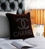 Pannaa Coffee Brown Velvet 16 x 16 Inch Chanel Cushion Cover