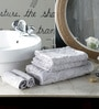 Pannaa Grey Cotton Bath, Hand and Face Towel  - Set of 5