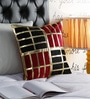Pannaa Red & Black Velvet 16 x 16 Inch Cubic Design Cushion Cover