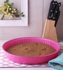Pasabahce Ovenware Dark Pink Stainless Steel Round Tray