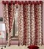 Precious Maroon Polyester Eyelet Window Curtain- Set of 2 by Cortina