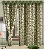Cortina Precious Green Polyester Eyelet Window Curtain- Set of 2
