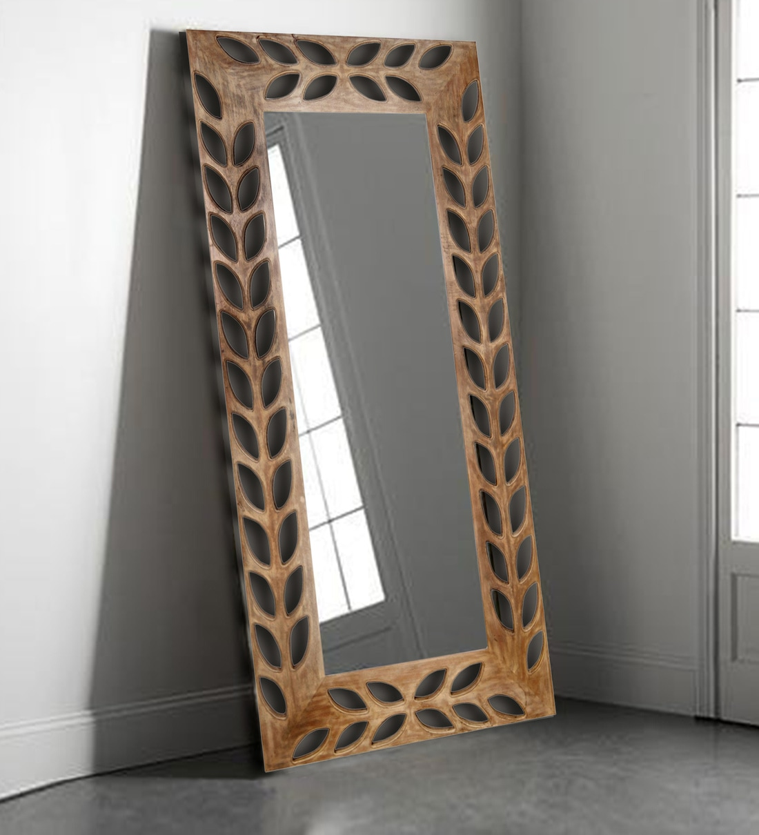 Buy Petals Carved Solid Wood Rectangular Wall Mirror In Off White Finish By Vriksh Of Life Online Eclectic Mirrors Eclectic Mirrors Test Pepperfry Product