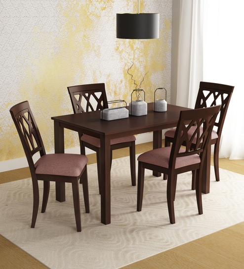 Online Home Furnishings: Buy Peak Solid Wood Four Seater Dining Set In Cappuccino