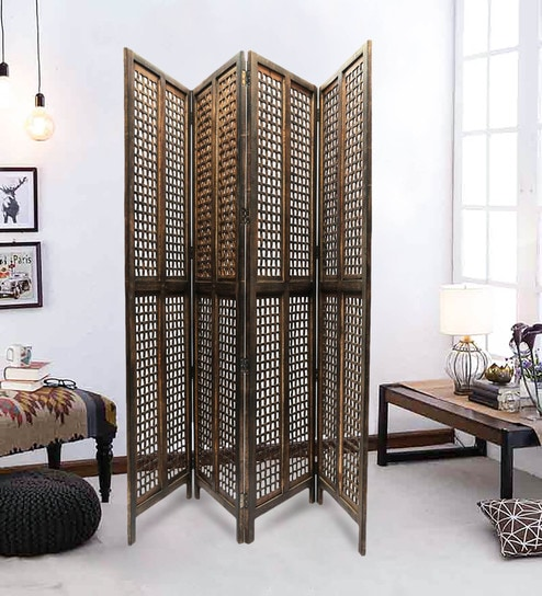 Peher Solid Wood 4 Panel Free Standing Room Divider In Brown Finish By Shilpi