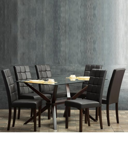 size 40 b68ee f6410 Pelican Six Seater Dining Set with Glass Top in Brown Finish by Durian