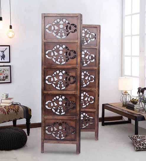 Perdido Solid Wood 3 Panel Free Standing Room Divider In Brown Finish By Aarsun Woods