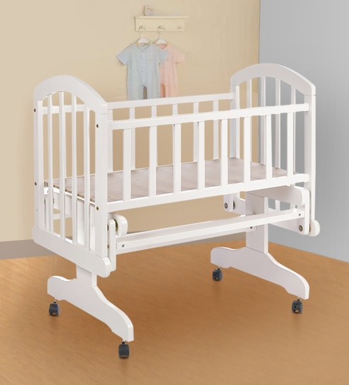 Perge Solid Wood Baby Cot In White Colour By Babycenter