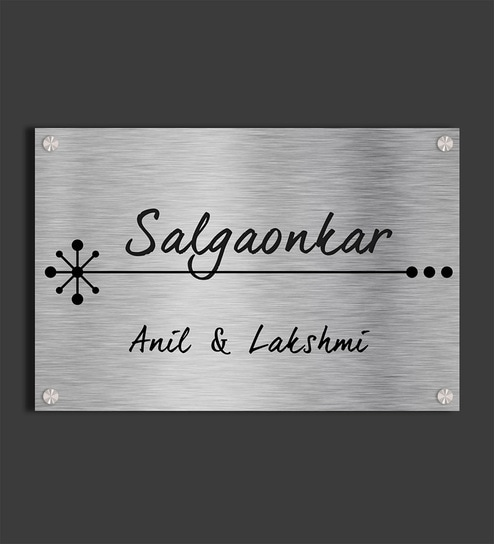 Personalised Salgaonkar Etched Stainless Steel Name Plate By Engrave