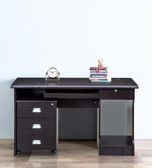 Petal Computer Table With Drawers In Black Colour By Royal Oak