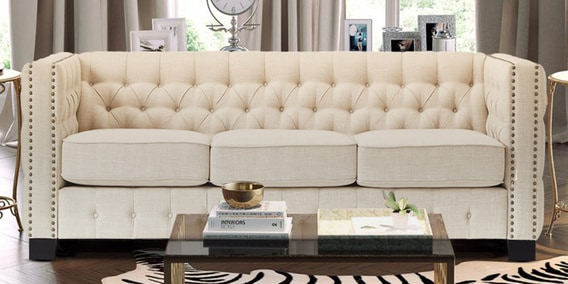Buy Perfect Appeal Three Seater Upholstered Sofa In Beige Colour By